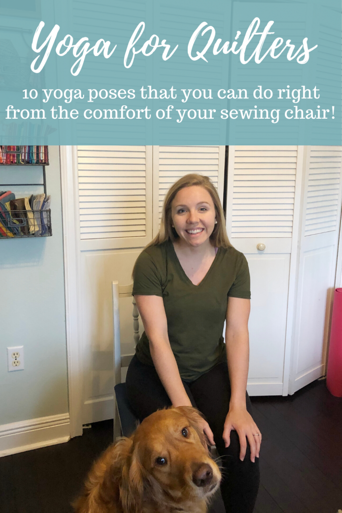 Chair Yoga for Quilters, Chair Yoga Sequence, seated yoga poses, flexibility for quilters, stretches for shoulders, back stretches, quilting, fit quilters