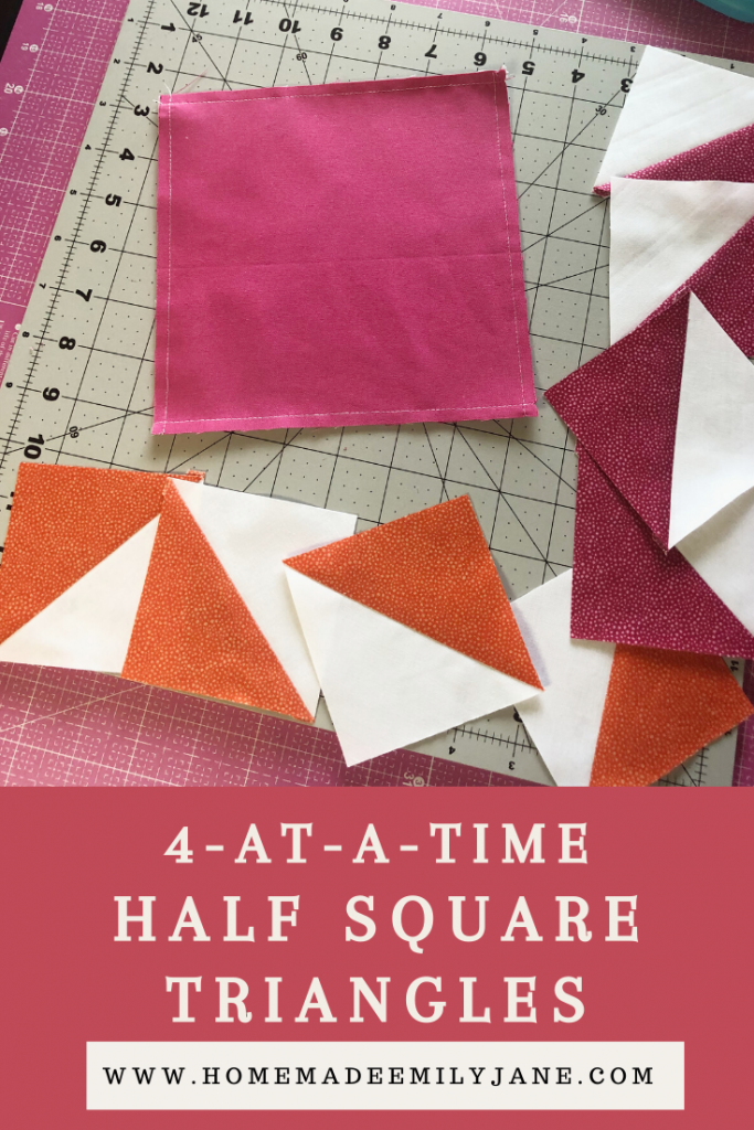 Half Square Triangle Quilt Blocks, learn how to make a quilt block, 4 at a time HSTs, quilt blocks, beginner quilting, learn to quilt, modern quilting, modern quilt pattern, triangular quilt pattern, rotary cutter, quilting rulers, trimming half square triangles, homemade emily jane, homemadeemilyjane
