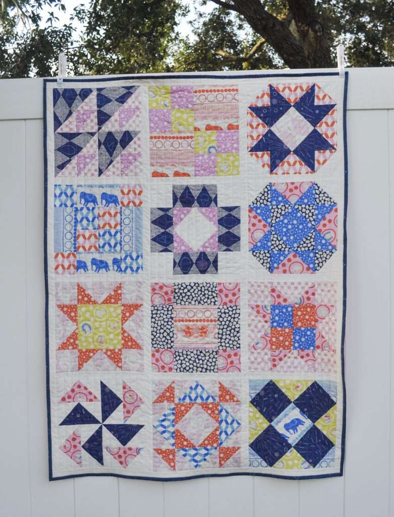 Scrappy Sampler Quilt, 12 different blocks baby size quilt, ways to use scraps in a quilt, scrap-buster projects, sewing scrappy, use up your fabric scraps, accuquilt sewing, baby size sampler quilt, fabric scraps, ways to use up scraps of fabric