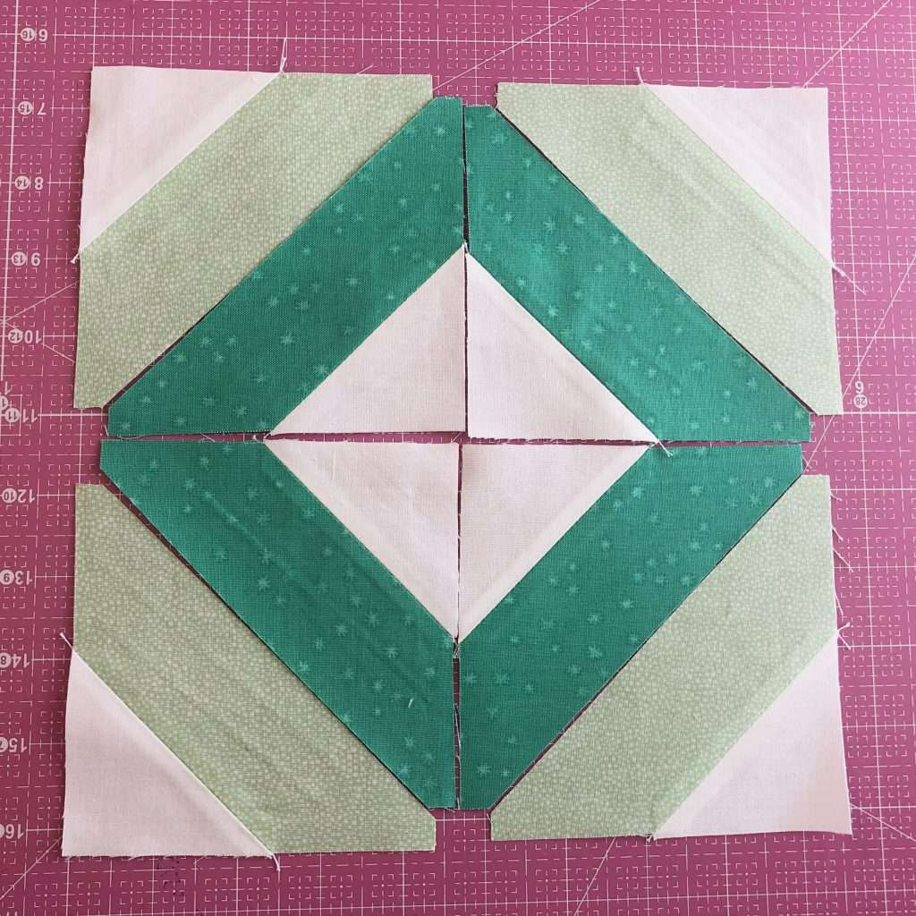 modern quilt block, modern string quilt block, learn to quilt, how to use accuquilt, angles companion set, Cube companion, quilt block with angles, quilt piecing tips, 4-patch quilt block