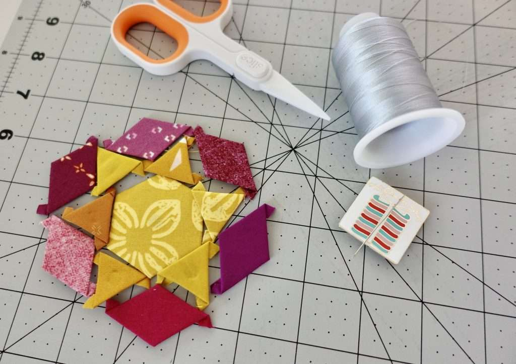 English Paper Piecing, quilting tutorial, hand sewing stitches, sewing tutorial, free
