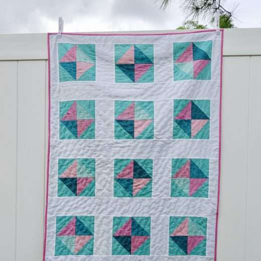 Easy Baby girl quilt solitaire quilt pattern half square triangles