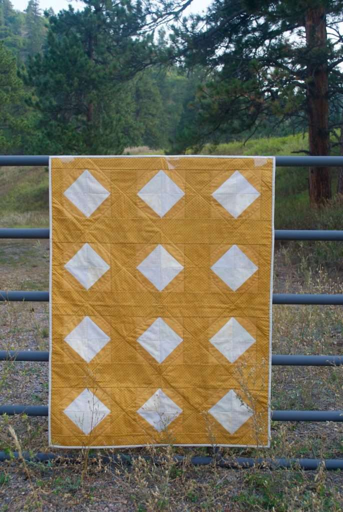 Little Sister Sewing Yellow Baby Solitaire quilt gold gender neutral baby quilt easy