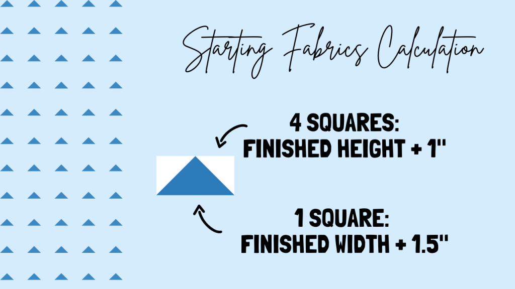 Formula for calculating starting square sizes. Learn how to make 4 flying geese units from 5 squares of fabric. NO-waste quilt block tutorial for beginners