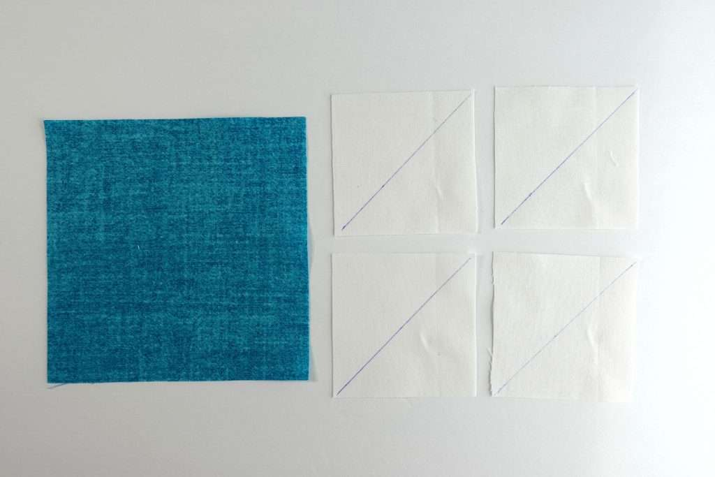 Flying Geese starting squares for 4-at-a-time no waste technique