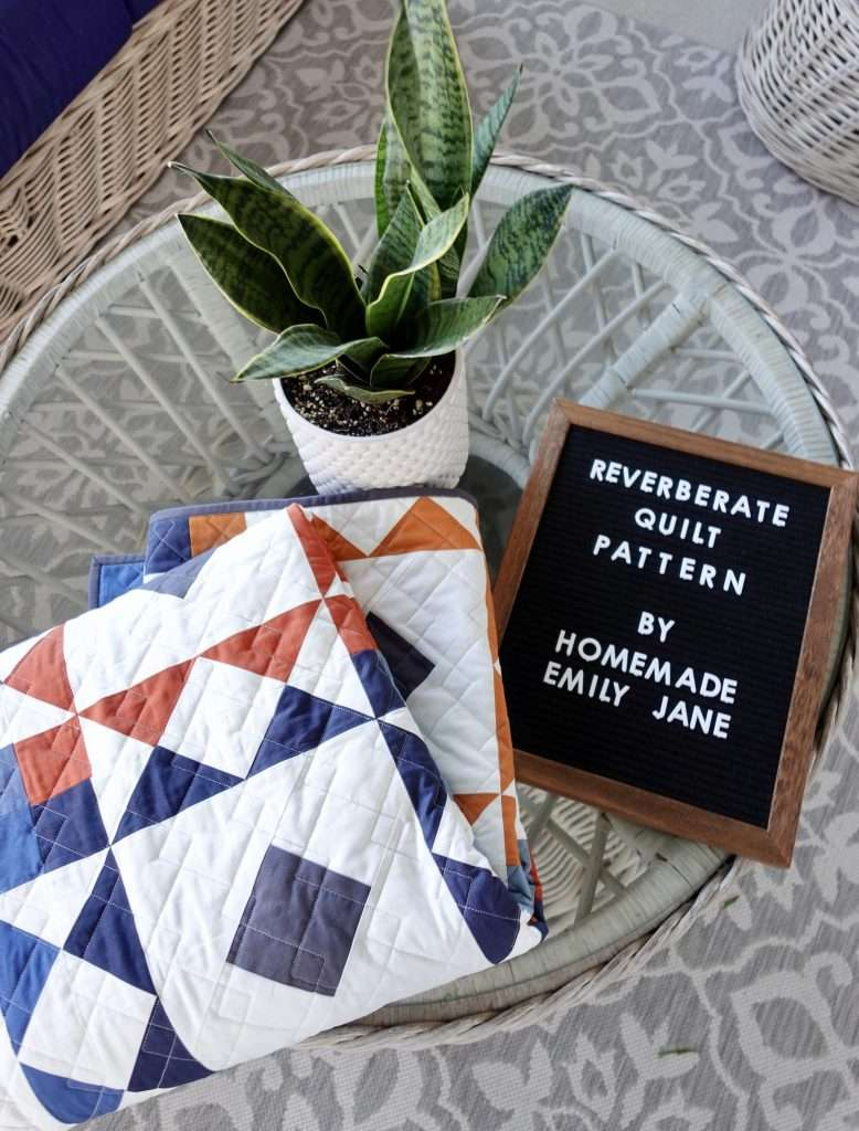 Reverberate quilt pattern by Homemade Emily Jane. Includes 6 quilt size options, is perfect for fat quarter precut fabrics, and even includes AccuQuilt quilting instructions.