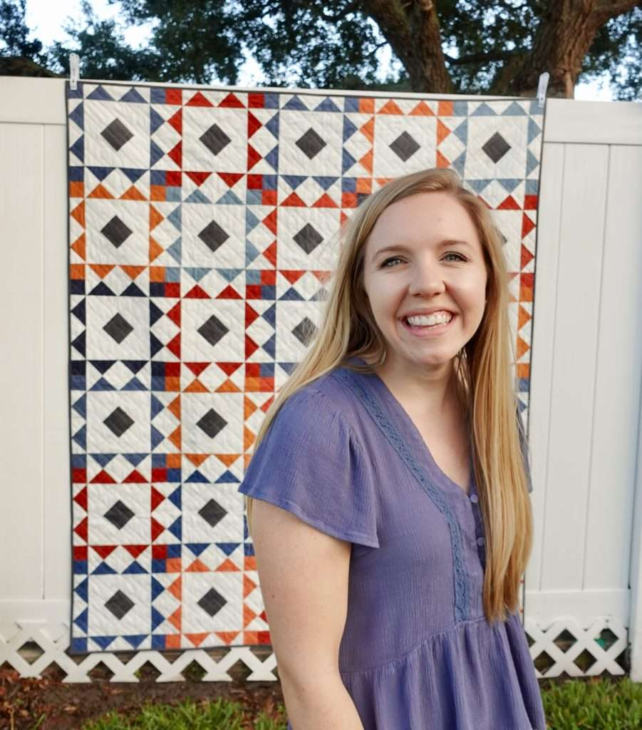 Homemade Emily Jane's Reverberate quilt pattern is great for fat quarters, and features flying geese quilt blocks. Grab the quilt pattern today to make it in one of 6 different sizes!