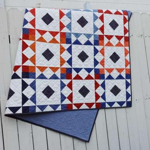 reverberate quilt pattern throw size quilt, modern quilt pattern