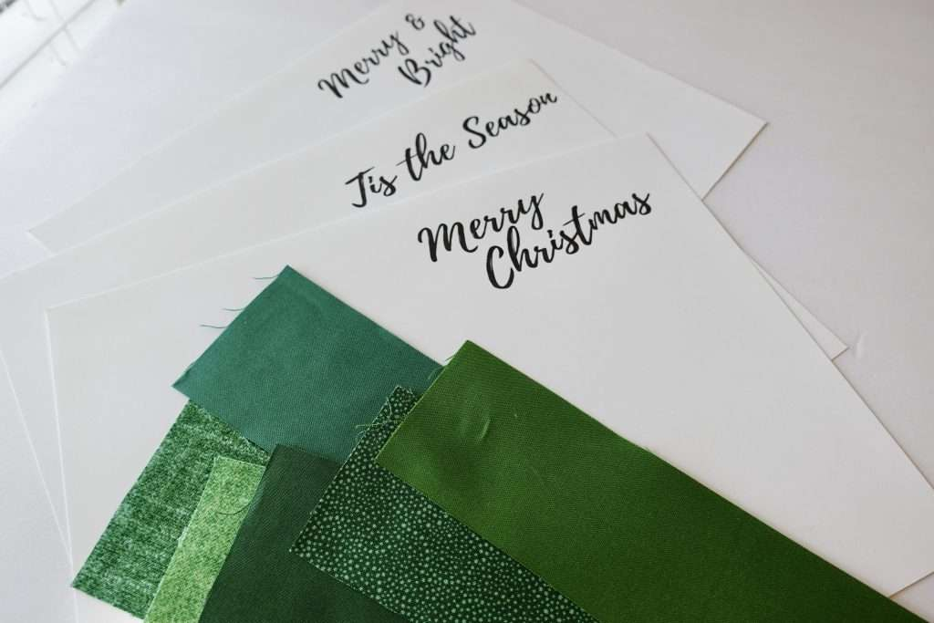 homemade christmas cards tutorial, Christmas cards pdf download, homemade holiday cards, Christmas tree cards with scraps of fabric