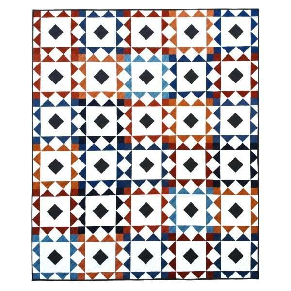 modern quilt pattern, reverberate quilt pattern, navy and orange quilt, quilting fabrics, solid quilt, flying geese quilt, square on point quilt block, quilting, modern quilt pattern