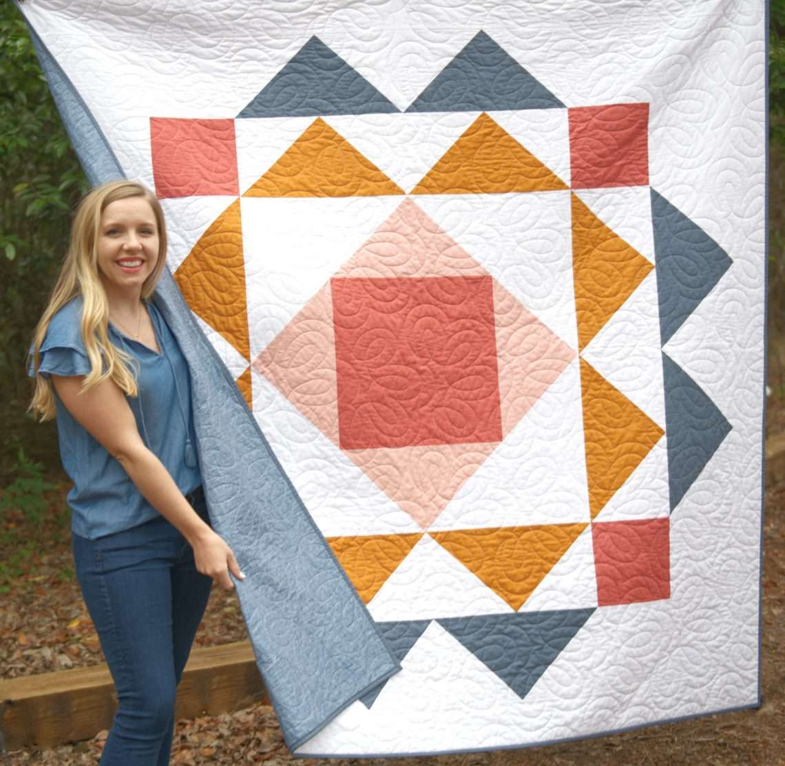 Paradigm quilt pattern homemade emily jane, modern quilt pattern featuring large blocks in a modern design, throw size quilt with big fabric pieces