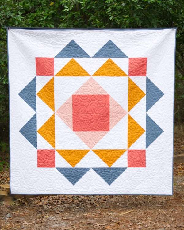 Paradigm quilt pattern, throw size easy modern quilt pattern, solid colored quilt by homemade emily jane