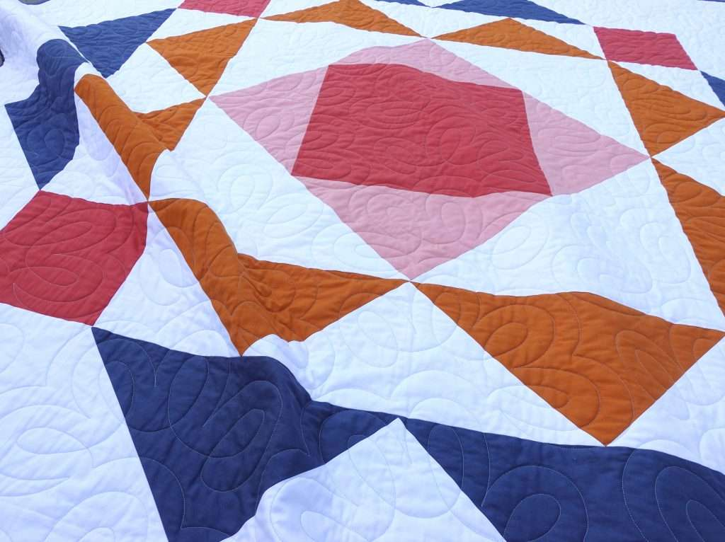 modern single block quilt pattern paradigm by homemade emily jane, throw size quilt with big block, fast and easy modern quilt pattern