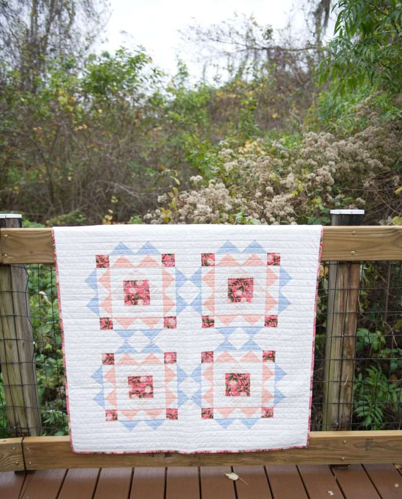 floral baby quilt, sprightly quilt pattern, modern baby quilt pattern, modern geometric baby quilt