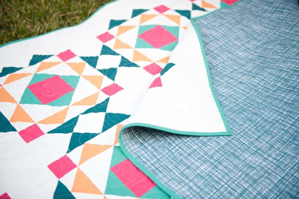 modern geometric quilt block quilt pattern, sprightly quilt pattern