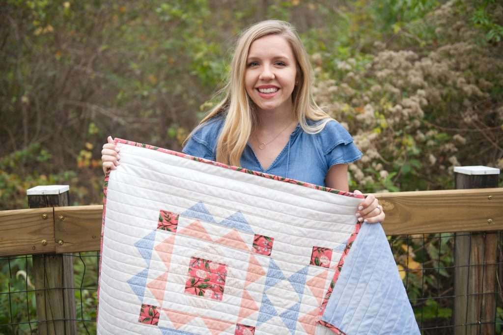 floral baby quilt, sprightly quilt pattern by Homemade Emily Jane, modern baby quilt pattern, modern geometric baby quilt