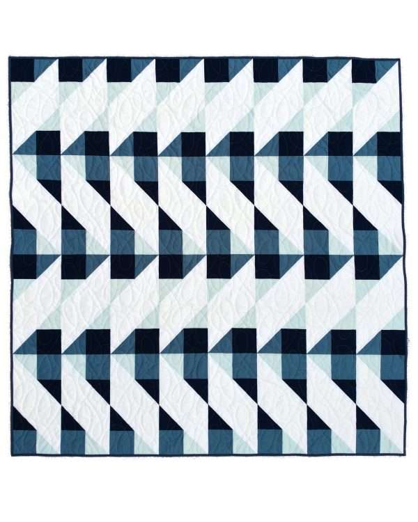 Cirrus quilt gingham throw size blue
