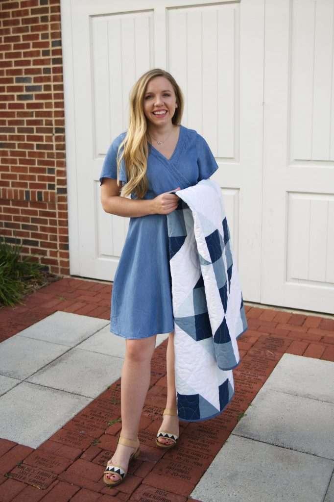Cirrus quilt pattern - gingham throw size quilt