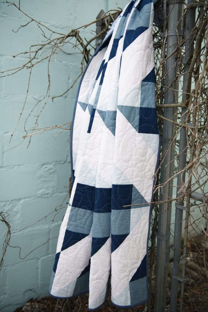 Navy and white throw size quilt
