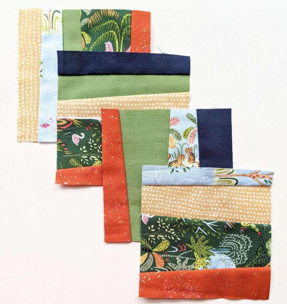 jungle theme baby quilt wonky strips improv quilting