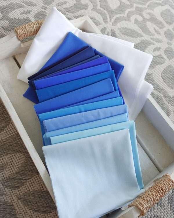 Stratus quilt kit fabric bundle ombre blue
