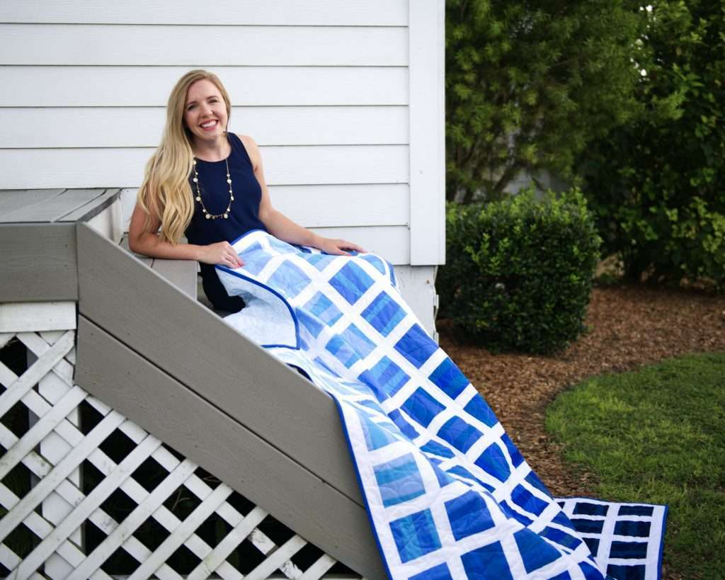 Ombre wonky strips quilt by Homemade Emily Jane