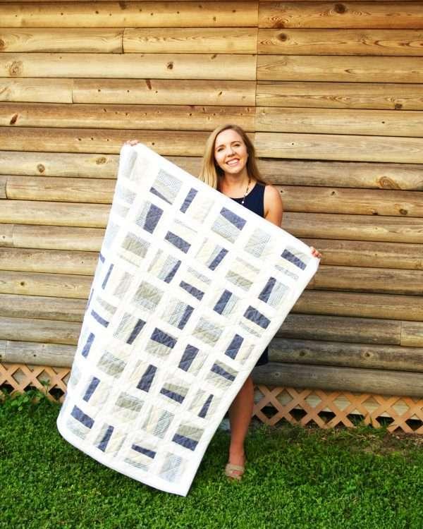 scrappy scattered improv baby quilt - modern neutral Stratus Quilt