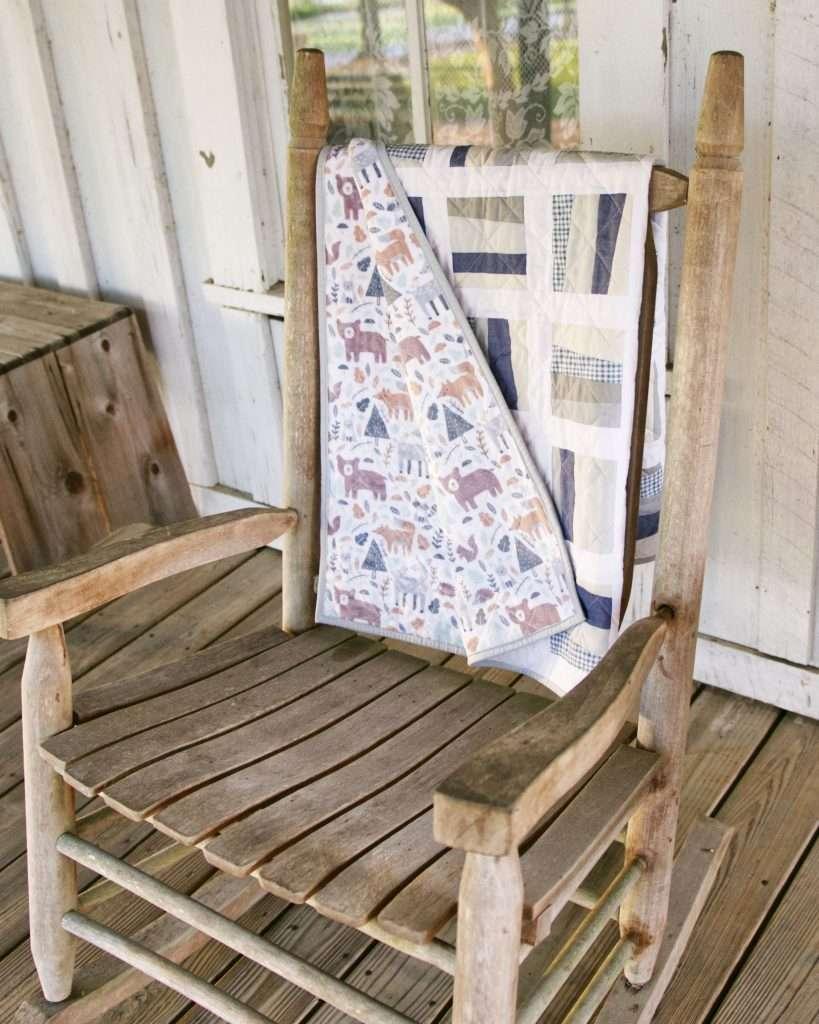 Woodland baby quilt for modern neutral nursery